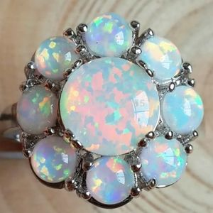 SILVER VINTAGE STYLE OPAL HALO RING